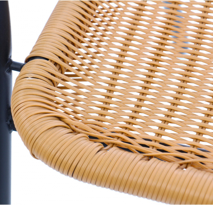 Scaun pentru gradina, Negru-Maro metal + polietilena, maro [3]