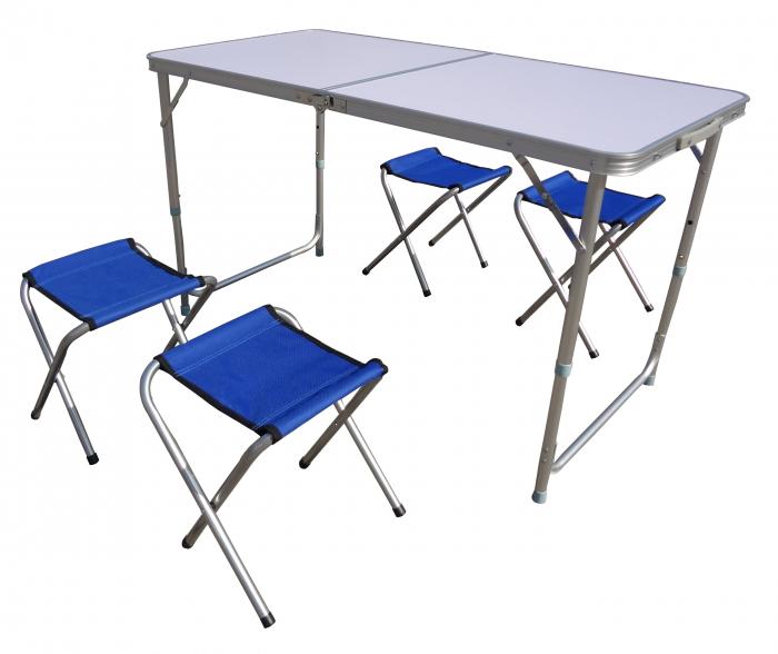 Set mobilier camping, masa pliabila + 4 scaune, albastre [0]