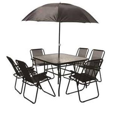 Set mobilier gradina, masa + 6 scaune + 1 umbrela, negru [0]
