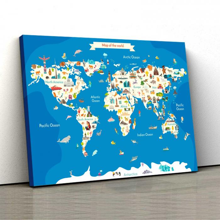 Tablou Canvas Copii - Harta Lumii 0