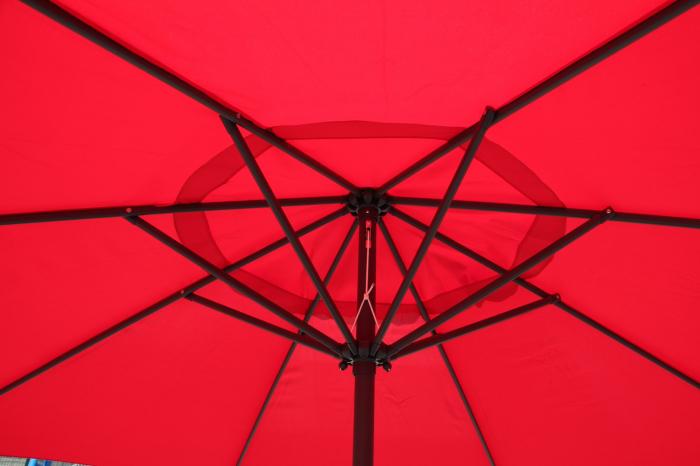 Umbrela soare pentru terasa RED rotunda structura metal rosu Diametru 300 cm 2