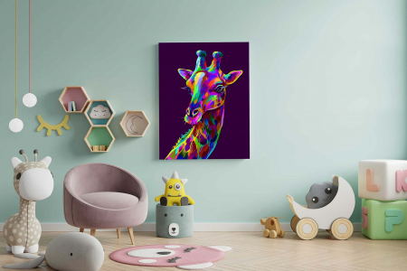 Tablou Canvas Copii - Neon Giraffe1