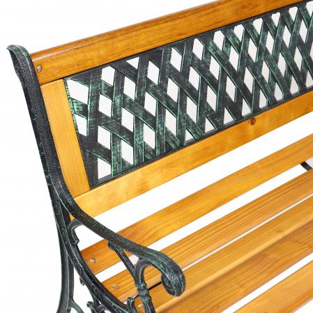 Banca pentru parc, cu spatar, metal + lemn, natur, 127 x 34 x 73.5 cm3
