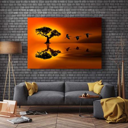 Tablou Canvas - Birds At Sunset [2]