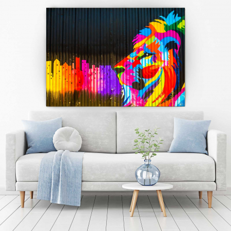 Tablou Canvas - Colored Lion [1]