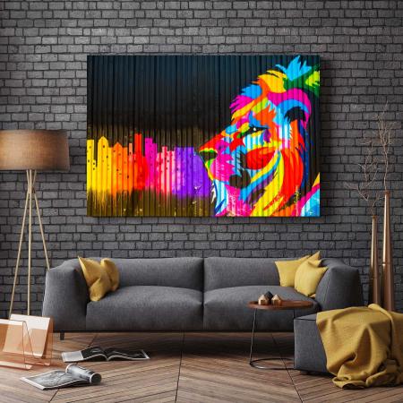 Tablou Canvas - Colored Lion [2]