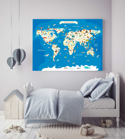 Tablou Canvas Copii - Harta Lumii1
