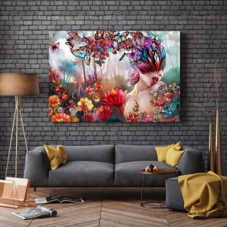 Tablou Canvas - Flori Si Fluturi [2]