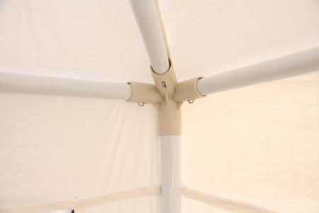 Pavilion gradina, patrat, cadru metalic + polietilena, alb, 3 x 3 m [1]