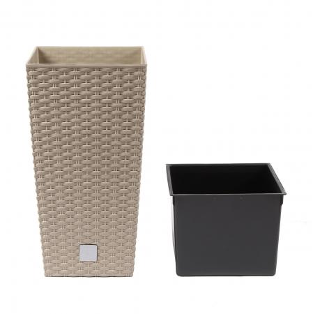 Ghiveci din plastic cu finisaj ratan sintetic, patrat, mocca 20 x 20 x 37.6 cm [1]