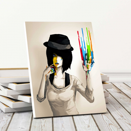 Tablou Canvas - Girl With Hat0