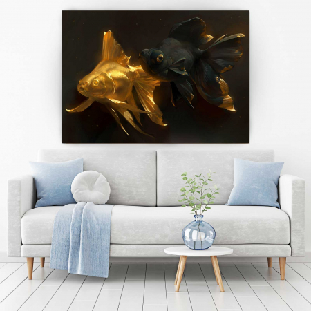 Tablou Canvas - Gold and Black Fish [1]