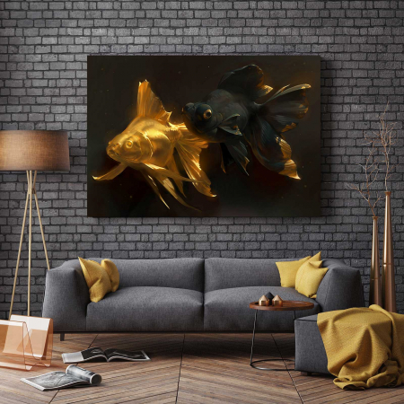 Tablou Canvas - Gold and Black Fish [2]