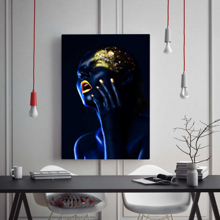 Tablou Canvas - Gold & Blue [1]