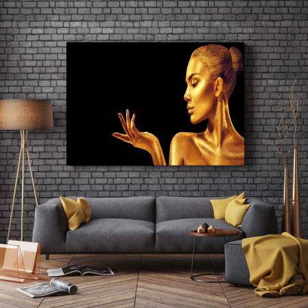 Tablou Canvas - Golden Face [2]