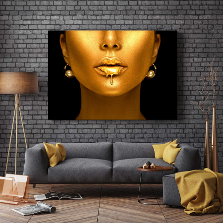 Tablou Canvas - Golden Lips2