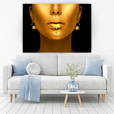 Tablou Canvas - Golden Lips1