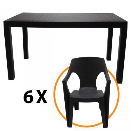 Set masa cu 6 scaune  Venghe Dreptunghiulara, pentru gradina, din plastic [0]