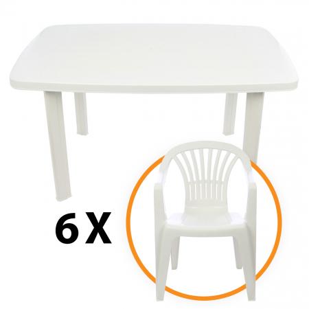 Set masa Alba + 6 scaune Albe, pentru gradina, alb, din plastic0