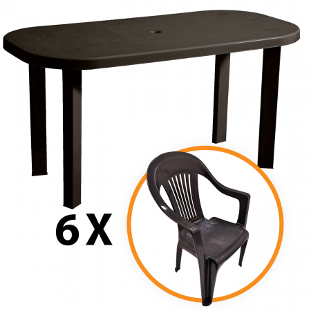 Set masa capucino+ 6 scaune capucino, pentru gradina, din plastic [0]
