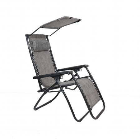 Scaun camping pliant Relax, structura metalica, cu protectie solara, gri, 173 x 109 cm [0]