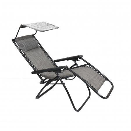 Scaun camping pliant Relax, structura metalica, cu protectie solara, gri, 173 x 109 cm [1]