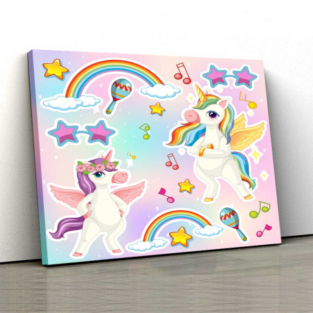 Tablou Canvas Copii - Unicorn Party0