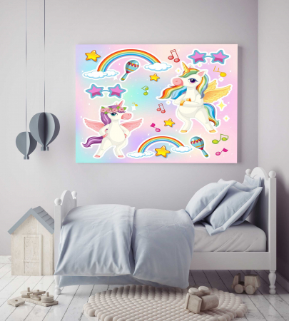 Tablou Canvas Copii - Unicorn Party2