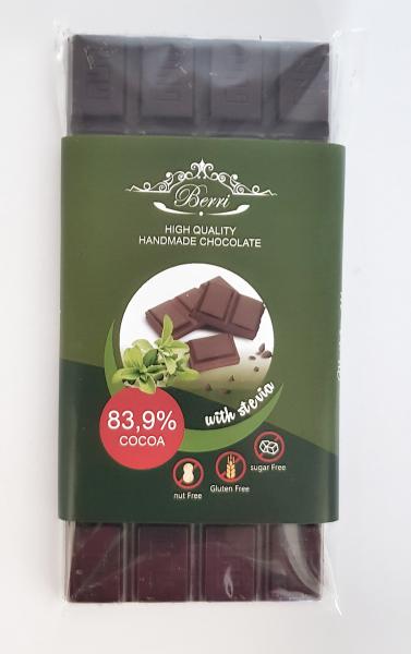 Ciocolata artizanala fara zahar cu stevia 83.9% cacao [1]