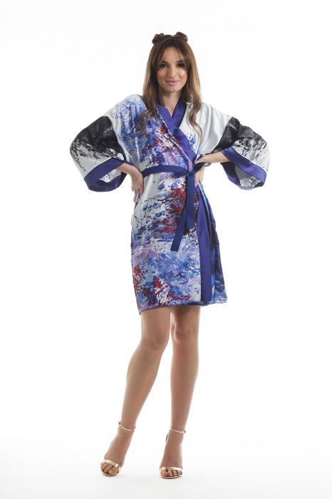 Kimono dama din vascoza cu imprimeu abstract [0]