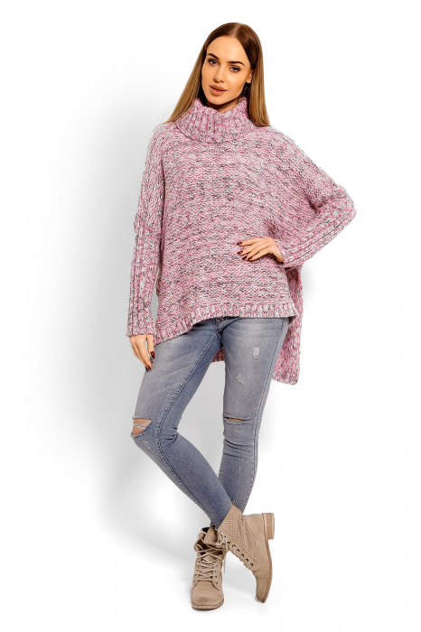 Pulover asimetric oversized roz 1