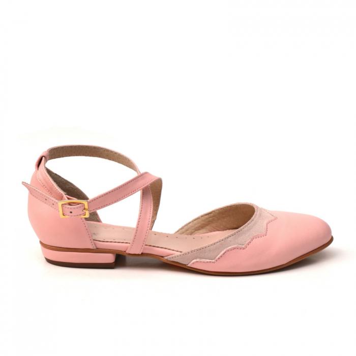 Balerini din piele roz cu barete incrucisate 0