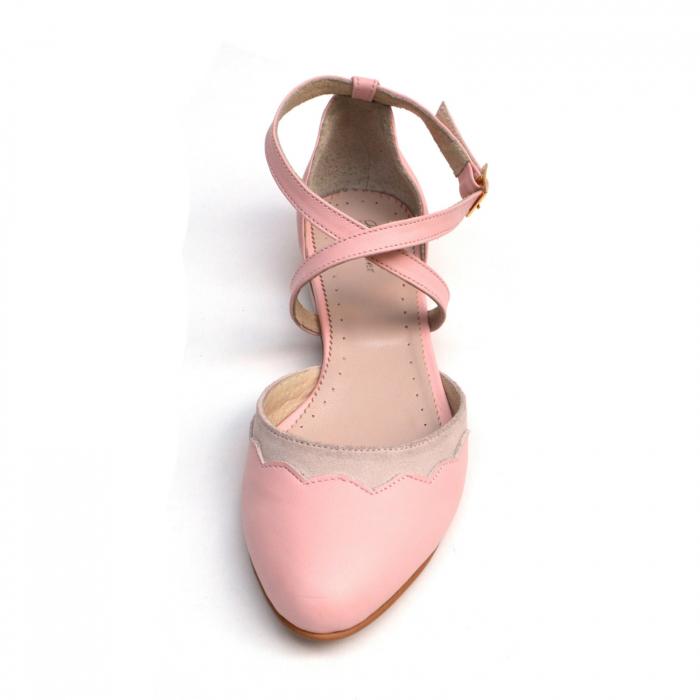 Balerini din piele roz cu barete incrucisate 2