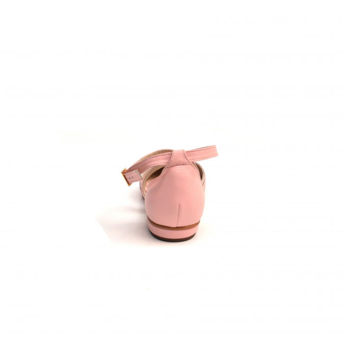 Balerini din piele roz cu barete incrucisate 3