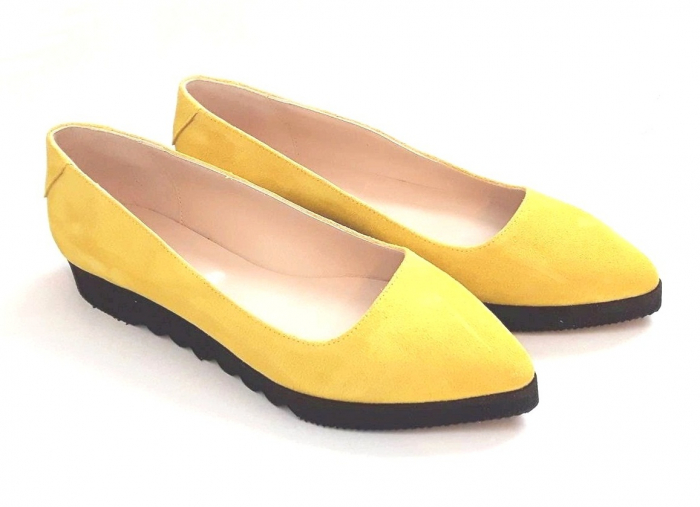 Balerini din piele Yellow Cora 0