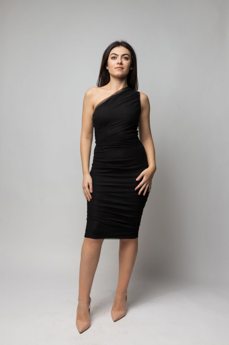Rochie eleganta din tulle negru cu un umar gol 0