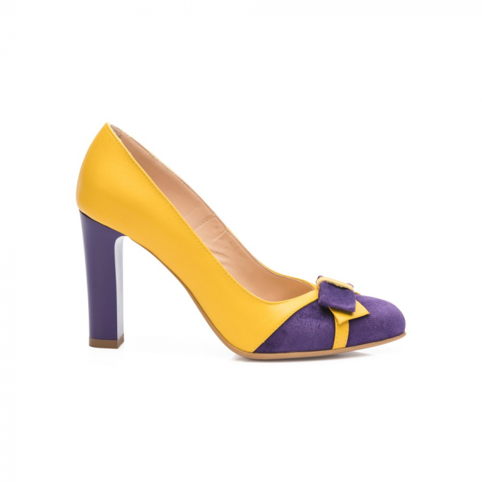 Pantofi eleganti galbeni cu insertie mov din piele CA28 [1]