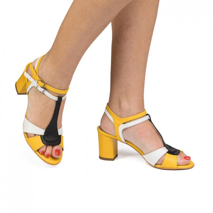 Sandale din piele naturala cu toc jos CA48 0