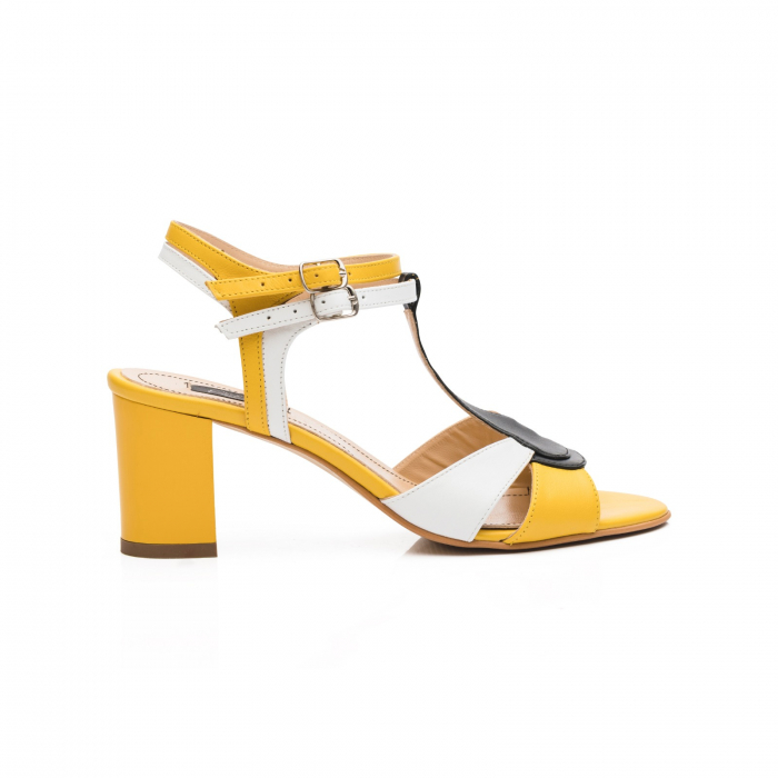 Sandale din piele naturala cu toc jos CA48 1