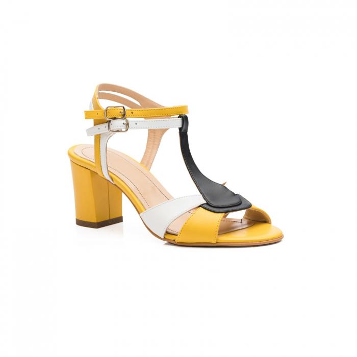 Sandale din piele naturala cu toc jos CA48 2