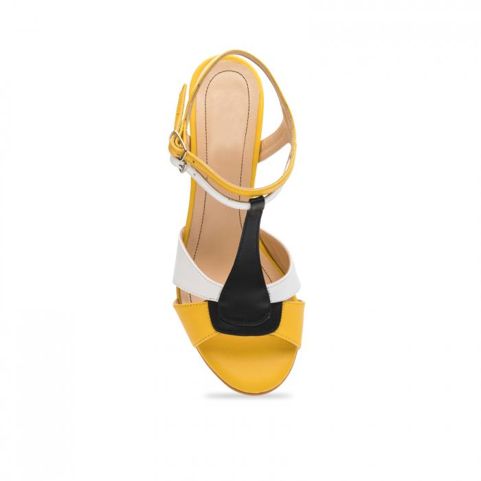 Sandale din piele naturala cu toc jos CA48 4