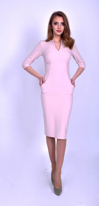 Rochie eleganta midi cu maneci trei sferturi Powder Pink 0