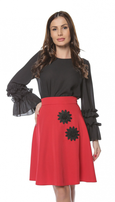 Fusta cloche rosie cu aplicatii florale negre FS85 0