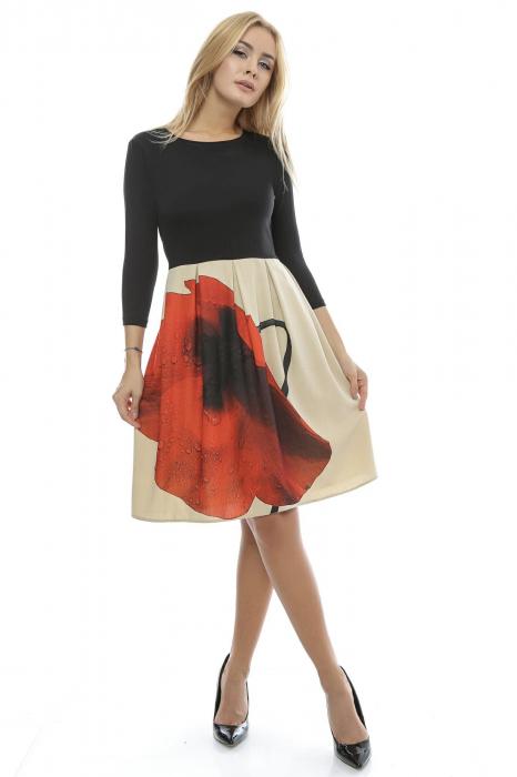 Rochie dama cu fusta imprimata RO123, L 0