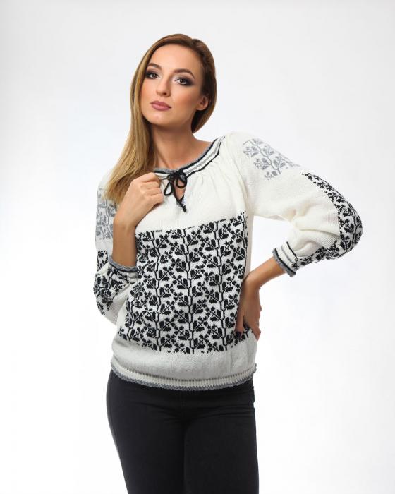 IE tricotata cu model in doua culori si maneci lungi Onibon 0