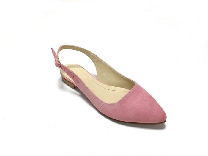 Balerini decupati din piele Lia Velvet Powder Pink 0