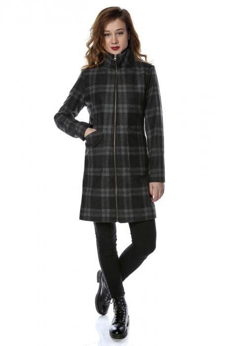 Palton dama din stofa in carouri gri PF22 0