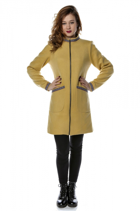 Palton dama din stofa galbena stil tunica PF25 0