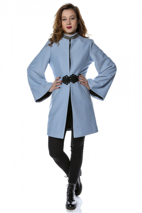 Palton dama din stofa bleu cu maneci clopot PF26 0