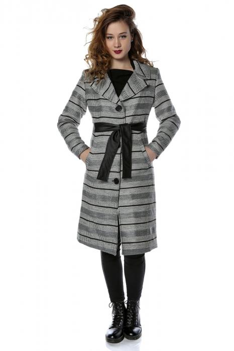 Palton dama din stofa cu dungi orizontale si cordon din piele ecologica PF27 0